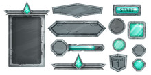 Stone UI Game Vector Kit, Medieval Rock Signboard, Menu Frame, Gemstone Emerald Button, Level Up Shield. Ancient Cracked Solid Panel, Green Crystal, User Interface Elements. Stone Game Assets On White