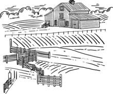 Barn House Farm Landscape Hand Drawn Line Art Illustration Classic Style