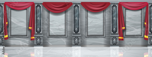 Fotografie, Obraz Medieval palace hall seamless background, castle ballroom interior, royal museum hallway, marble floor