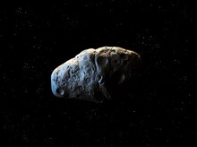 Rocky Asteroid In Space With Stars. Asteroid Isolated On A Black Background. Meteorite With Impact Craters.