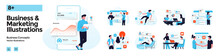 Modern Colorful Business And Marketing Illustration Set