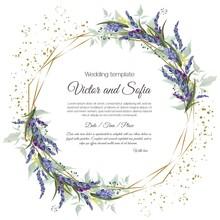 Floral Vector Template For Wedding Invitation. Lavender, Green Leaves, Circular Polygonal Gold Frame.