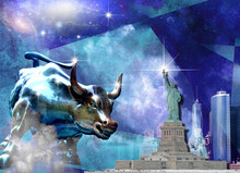 Charging Bull And Statue Of Liberty