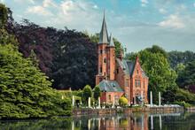 Kasteel Minnewater Restaurant On Minnewater Lake In Bruges, Belgium