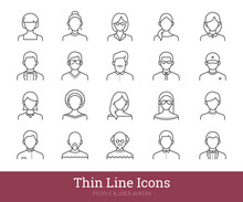 People Icons Set. Thin Line Vector Pictograms Related To Business, Office Persons, Teacher, Students, Simple Portraits Of Men And Women. User Avatars Collection For Web, Mobile Apps. Editable Strokes.