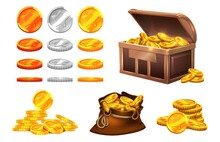 Golden Silver Coins. Wooden Chest Coin Treasures, Bronze Gold Medals With Stars. Isolated Bag With Money, Cartoon Game Vector Elements