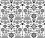 Fototapeta Kuchnia - Mexican folk art floral seamless vector pattern, black and white design with hearts, flowers and swirls inspired by traditional ornaments from Mexico