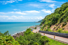 One Of The Most Beautiful Seaside Roads In Thailand. Chalerm Burapha Chonlathit Highway Look From Noen Nangphaya View Point , Chanthaburi, Thailand.
