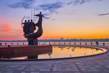 The Dnieper River Bank With Statue Of Kyiv City Founders, Ukraine