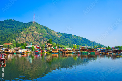 A variety of colorful boathouses Fototapet