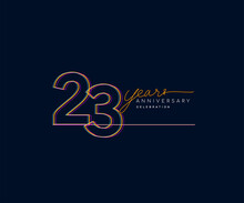 23rd Years Anniversary Logotype With Colorful Multi Line Number Isolated On Dark Background.