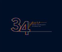 34th Years Anniversary Logotype With Colorful Multi Line Number Isolated On Dark Background.