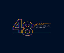 48th Years Anniversary Logotype With Colorful Multi Line Number Isolated On Dark Background.