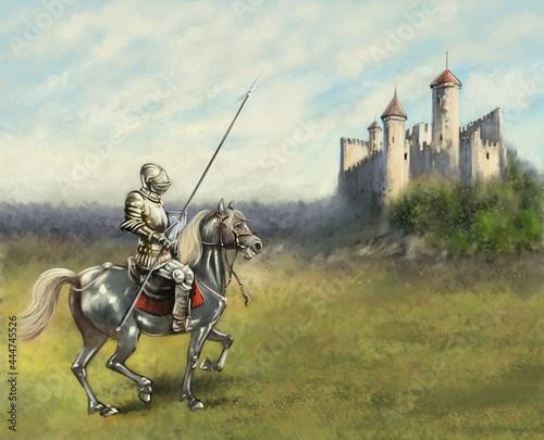 Fotografie, Obraz Oil paintings landscape, fine art. Medieval knight on horseback.
