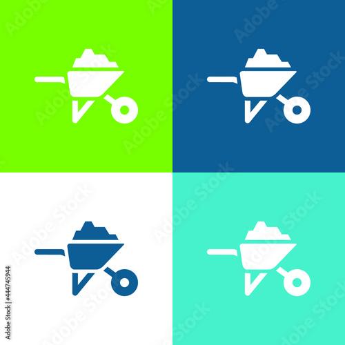 Fotografija Barrow With Construction Materials Flat four color minimal icon set