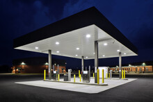 View Of Well-lit Gas Station At Night
