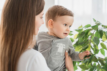 Curious Little Toddler Infant Newborn Baby Son Watching Through The Window With His Mother Mom. Babycare And Motherhood Concept. Happy Mother`s Day!