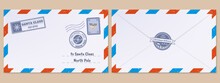Christmas Santa Claus Letter. Xmas Holidays Wish List Letter, Mailing Envelope With Postmarks And Stamps Vector Illustration Set. Santa Claus Post Office Mail