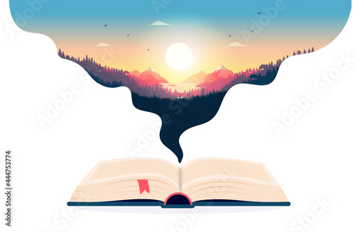 Book imagination - Open book with dreamlike landscape Fototapet