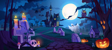 Graveyard And High Spooky Castle On Top, Cemetery With Skulls And Candles, Pumpkins With Lights And Ghosts. Halloween Landscape Scene, Small Boneyard With Tombstones And Dry Trees. Cartoon Vector