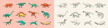 Dinosaurs Set, Tyrannosaurus Rex, Triceratops, Barosaurus, Diplodocus, Velociraptor Triceratops Stegosaurus. Prehistoric Reptiles, Animal. Vintage Sketch For T-shirt Print. Engraved Hand Drawn Animal