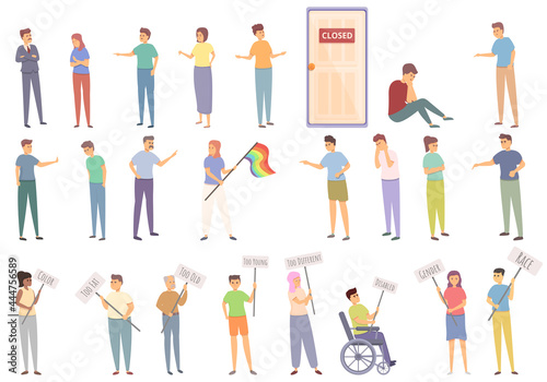 Fotografia, Obraz Discrimination icons set cartoon vector