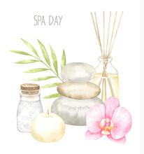 Spa Watercolor Composition