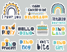 Dino Colorful Funny Quotes Set. Vector Illustration.