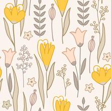 Modern Floral Handrawn Seamless Pattern On Light Background. Vector Illustration.