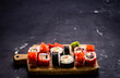 Sushi maki set. Japanese asian roll food composition with prepared rice and seafood following traditions