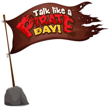Flag Pirate With Talk Like Pirate Day Word Isolated White Background