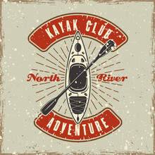 Kayak And Rays Colored Emblem, Badge, Label Or Logo Vector Illustration In Retro Style With Grunge Textures And Scratches