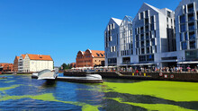Gdansk, Poland - July 11, 2021: View Of The Old City Of Gdansk On The Motlawa River. Tourists Walk Along The Waterfront. On Motlawa Green Patches Of Duckweed. Middle Of The River Flows Ship.