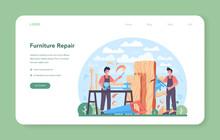 Joiner Or Carpenter Web Banner Or Landing Page. Wooden Furniture