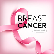 Vector Realistic Breast Cancer Awareness Poster With Realistic Pink Ribbon With Inscription