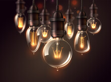 Vector Vintage Light Bulbs Dark Background Realistic Glowing Lamps Steampunk Style