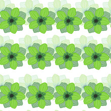 Isolated Seamless Pattern With Green Anemone Flowers Bud Ornament. White Background. Creative Floral Print.