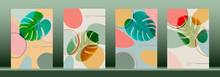Abstract Leaf Monstera Wall Arts Vector. Colorful Trendy Set, Modern Exotic Leaves Design For Wall Framed Prints, Canvas Poster, Artwork As Postcard Or Brochure. Vector Illustration