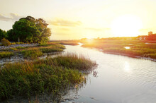 Sunset View Along The Marsh In The Low Country Near Charleston SC