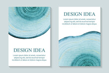 Modern Abstract Background Or Card Design With Blue Wood Circles And Golden Glitter On A White.