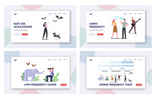 Sound Frequency Waves Landing Page Template Set. Tiny Characters At Huge Infographics Presenting Sound Amplitude