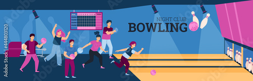 Photo Interior of game zone with group young people playing bowling with balls and pin
