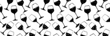 Seamless Background Pattern. Hand Drawn Wine Glasses Pattern. Background For Decoration Of Textile Garments, Fabrics, Packaging, Web Designs, Brochures, Posters.