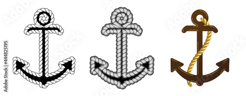 Foto Set of Three Vector Nautical Anchor Logo