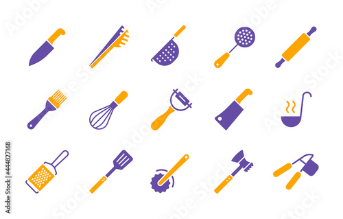 Obraz na plátně Kitchenware and kitchen vector icon glyph set