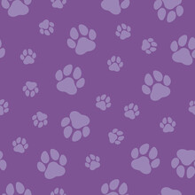 Purple Paw Print Seamless Vector Pattern. Cute, Fun Animal Illustration Background. Dog And Cat Pet Themed Foot Print Silhouette Motif, Repeating Wallpaper Texture Design.