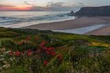 Fototapeta Kawa jest smaczna - Pink sunset ocean scenery and summer Odeceixe beach (Aljezur, Algarve, Portugal).