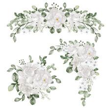 Watercolor Set Of Flower Arrangement With Gardenia White Flower
