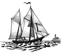 Sailing Ship In The Sea And Lighthouse In The Distance. Ink Black And White Drawing
