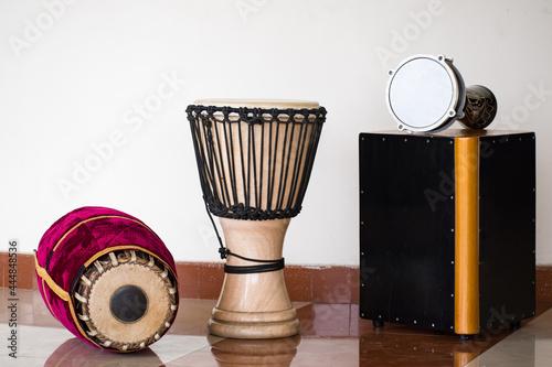 Obraz na plátně The percussion instruments mridangam djembe Cajon and goblet drum or darbuka dru